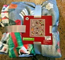NWT Disney Santa Mickey Mouse and Friends Reversible Christmas Throw Blanket