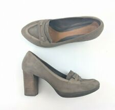 Clarks Ladies Shoes Grey Suede Work Office Smart Court Block High Heel UK 5.5