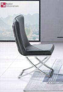 Chesterfield Chair Velvet Grey Stainless Steel Dining Upholstered New