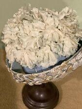 New listing Vintage Floral Hat / Light Blue & White / Weave Design Edge / Union Made / Usa