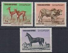 Yemen 1964 ** Mi.P14/16 Tiere Animals Wildlife Wild Pferde Horses Buffalo Büffel