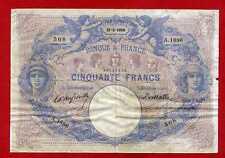 (Ref: A.188) 50 FRANCS BLEU ET ROSE 21/08/1900  (TB+) TRES RARE