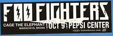 Foo Fighters Cage The Elephant Show Promo Sticker Denver Co Pepsi Center Cool