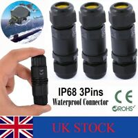 3 Pole Core Joint Outdoor IP68 Waterproof Electrical Cable Wire Connector UK
