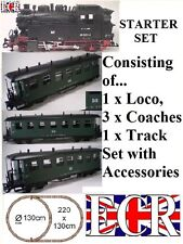 G SCALE RC LOCO STARTER FREIGHT GARDEN RAILWAY GREEN COACH 45mm GAUGE TRAIN SET