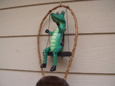 Painted Green Alligator Gator on a Swing Bamboo w Coco Top Wind Chimes Free Ship