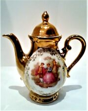 Hallerstein Porzellan Kaffee-Mokka Kanne Watteau Fragonard Gold staffiert selten