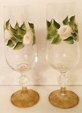 White Rose Flutes Glass Set Hand Painted Wine Champagne Golden Base Drinkware