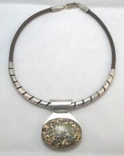 Necklace Silver Creations Mexico * Sterling Silver Brown Leather Jasper Pendant