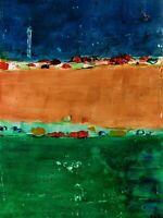 "Original abstract oil painting signed by Nalan Laluk: ""Old Walls"""