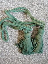 TWO 2 Quality Traditional Tassel Rope Curtain Tie Backs / Ties  MOSS GREEN. NEW!