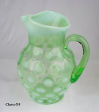 Fenton Dot Optic (Coin Spot) Green Opalescent (Ice Lip) Pitcher Mint early 1900s