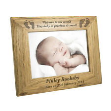 PERSONALISED OAK BABY PHOTO FRAME birth, scan, twins, new grandparents gift idea