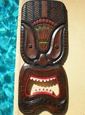 TRIBAL TIKI MASK BOARD WALL WOOD CARVED HANGING PLAQUE BALI BALINESE 50CM