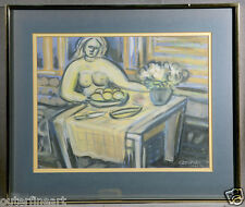 20th Century Argentine Tempera Drawing of Abstract Woman signed Emilio Centurión