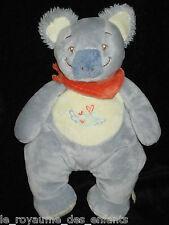 Doudou Koala bleu gris foulard orange écru oiseau brodé Noukie's 25 cm