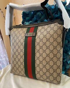 New Authentic Gucci 387111 GG Supreme Web Slim Cross Body Bag