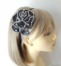 Beautiful large black & silver sequin flower motif headband - aliceband