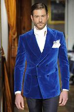 Men Blue Smoking Jackets Designer Patch Pockets Dinner Party Wear Coats Blazers