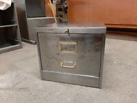 Lovely Vintage Industrial Roneo 1 Draw Filing Cabinet Stripped and Polished