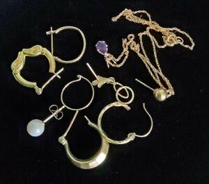 Vintage 14Kt Gold Single Pierced Earrings Pendant Chain Mixed Lot 3.4 grams