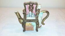 Vintage Antique Hand Painted Cat Under Chair Decorative 2 Piece Creamer Tea Pot