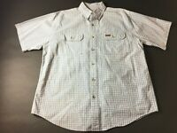Carhartt Mens Blue Plaid Front Pocket Button Front Shirt Size Large