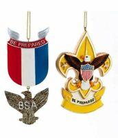 Kurt Adler Boy Scouts of America Eagle and Fleur De Lis Christmas Ornaments Set