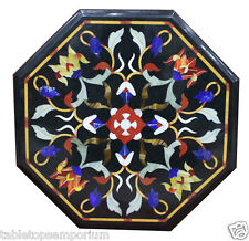 "12"" Black Marble Table Top Coffee Foyer Garden Inlay Mosaic Inlaid Handmade Art"