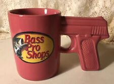 """Bass Pro Shops Fishing Pink Ceramic Pistol Gun 4 1/2"""" Mug"""
