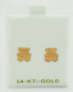 TEDDY BEAR STUD SOLID 14k ROSE GOLD EARRINGS * New With Tag *