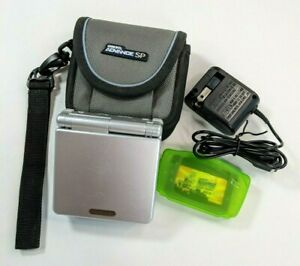 Nintendo Game Boy Advance SP Console Silver AGS-001 Case, Charger and Game