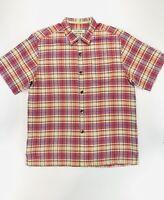 Tommy Bahama Original Fit Plaid Shirt Pink Purple Yellow Men's Size Medium