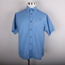 Columbia River Lodge Casual Dress Shirt Men's L Short Sleeve Blue