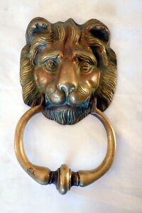 Large Antique Cast Brass English Lion's Head Door Knocker