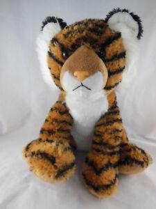 "Tiger Plush by Aurora World Cat 12"" Soft & Huggable Shaggy pile fur white bell"