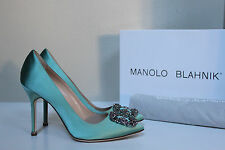 "New sz 5.5 / 36 Manolo Blahnik Mint Hangisi Brooch Toe Jewel 4"" Heel Pump Shoes"