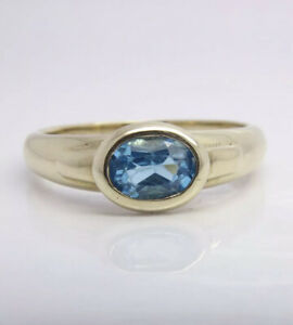 Blue Topaz Oval Solitaire Ring - 9ct Yellow Gold - UK Size S