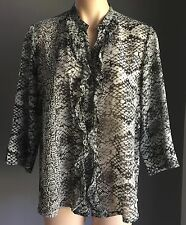 Great Condition NONI B Soft Grey & White Sheer Snake Print 3/4 Sleeve Shirt Si12