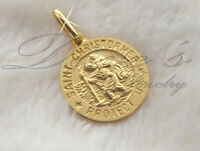 San Cristobal / Saint Christopher Medal with Chain 14k Real Gold 26106