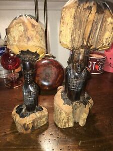 Set of Two African ebony fine hardwood head carving statues male figures 11''