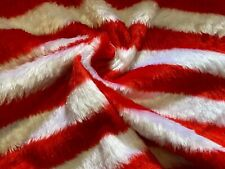 Red And White Stripe Faux Fur Fabric, Per Metre