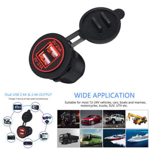 Waterproof Dual USB Charger Socket Power Outlet 2.4A &2.4A Red LED for Car Truck