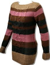 SeXy Miss Damen Long Pulli Strick Streifen Rundhals Pullover Mehrfarbig 34/36/38