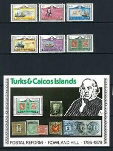 Turks & Caicos 1979, Death Centenary of Sir Rowland Hill sg545/50 & MS551 MNH *