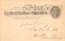 SCOTT UX12 POSTAL CARD CHICAGO ILLINOIS TO MONTANA GLADIATOR CYCLE WORKS 1897