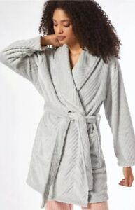 Dorothy Perkins Grey Slinky Fur Robe Dressing Gown - Fast Delivery!
