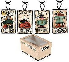 Ghostly Greetings ~ Pumpkins/Witches Halloween Ceramic Mini Plates Set ~ Set/4