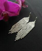 Fringe Beaded Earrings Silver Seed Bead earrings Silver earrings handmade
