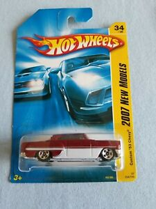2007 Hot Wheels CUSTOM 53 CHEVY Red 34/180 EXCELLENT CARD New Models